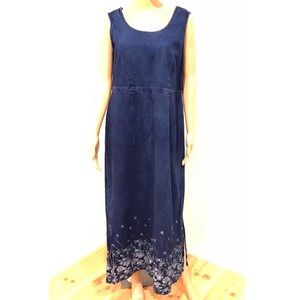 Karin Stevens Denim Sleeveless Floral Dress 14